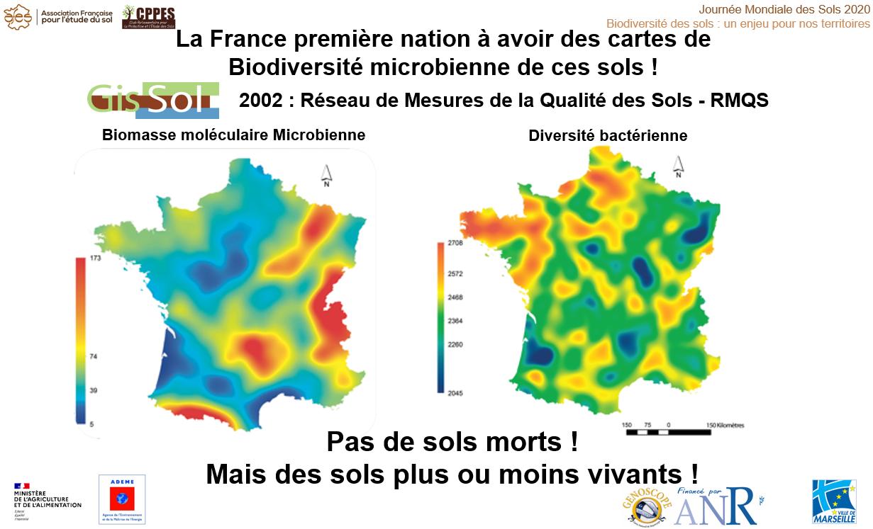 Carte de la biodiversité microbienne des sols français. Ranjjard et. al. 2020